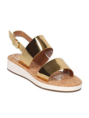 - Qupid Women Metallic Leatherette Open Toe Double Band Slingback Low Wedge Sandal GF20 - Gold (Size: 8.0)