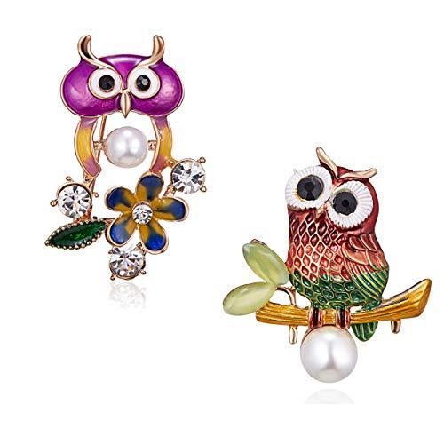RINHOO Crystal Rhinestone Flower & Bowknot Brooch Pin Bee Olw Butterfly Brooch Pin Jewelry for Women Girls Gift (2pc-Owl)