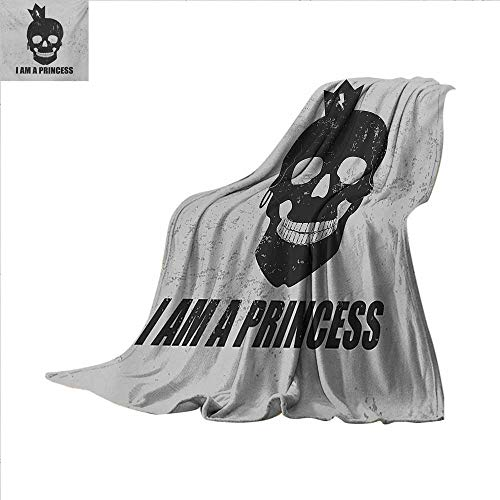 I am a Princess Digital Printing Blanket Skull with a Crown Skeleton Halloween Theme Grunge Look Summer Quilt Comforter 62 x 60 inch Charcoal Grey and Pale Grey