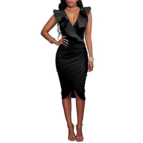 Women's Ruffles V-Neck Ruched Cocktail Club Evening Party Falbala Bodycon Dress M Black