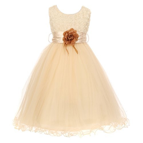 brown and champagne flower girl dresses - 9