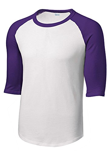 (Mens Or Youth 3/4 Sleeve 100% Cotton Baseball Tee Shirts Youth S to Adult 4X WH/PUR-XXL)
