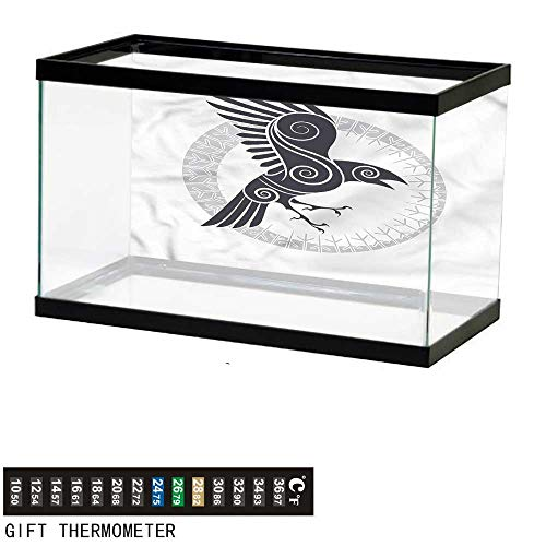 Suchashome Fish Tank Backdrop Raven,Abstract Celtic Style Rune,Aquarium Background,60