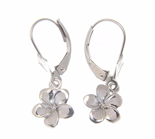 (14K solid white gold Hawaiian 11mm plumeria flower leverback earrings)
