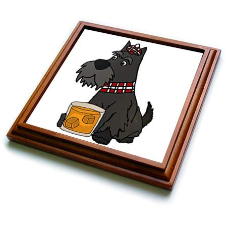 3dRose All Smiles Art - Pets - Funny Cute Scottish Terrier Scottie Dog Drinking Scotch Whiskey - 8x8 Trivet with 6x6 ceramic tile (trv_313448_1)