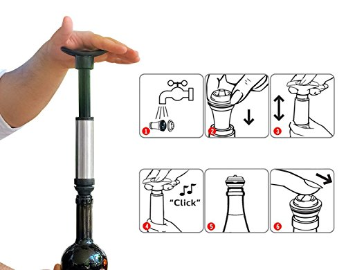 Wine Saver Preserver Vacuum Pump with Wine Aerator/Pouring Spout and 3 Vacuum Bottle Stoppers to Save Fresh by Winer Life (Image #4)