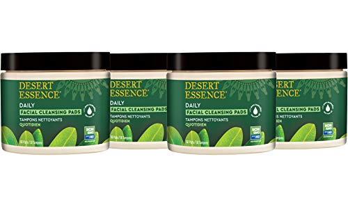 Desert Essence Natural Tea Tree Oil Facial Cleansing Pads - 50 Count -Pack of 4 - Face Cleanser - Soothes & Calms Skin - Makeup Remover Pads - Removes Oil & Dirt - Great for Travel - Essential Oils