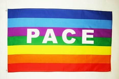 FLAGGE REGENBOGEN FRIEDEN PACE 150x90cm PEACE FAHNE  90 x 150 cm Aussenverwend