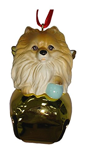 StealStreet SS-D-BL018-B Cute Christmas Holiday Pomeranian Dog Ornament Bell Figurine, Gold