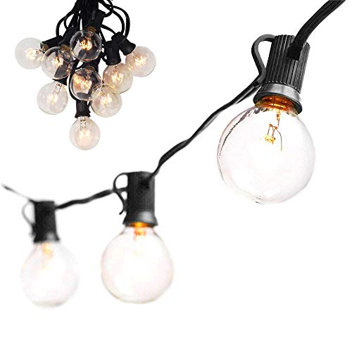 25Ft Black Wire String Lights, 27 G40 Globe Bulbs (2 Extra):Connectable, Waterproof, Indoor/Outdoor Globe String Lights for Patios, Parties, Weddings, Backyards, Porches, Gazebos, Pergolas&More