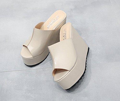 Xing Lin Sandalias De Mujer Zapatillas De Verano Femenina Pendiente Con Zapatillas Gruesas Sandalias De Tacón Zapato Abierto Boca De Pescado Sandalias Femenina Taiwán Impermeable apricot