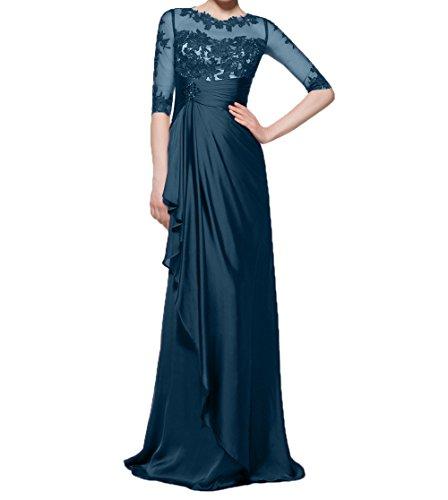 Blau Elegant Langarm Partykleider Charmant Navy Brautmutterkleider Ballkleider Spitze Abendkleider mit Chiffon Damen PBOBWfq5