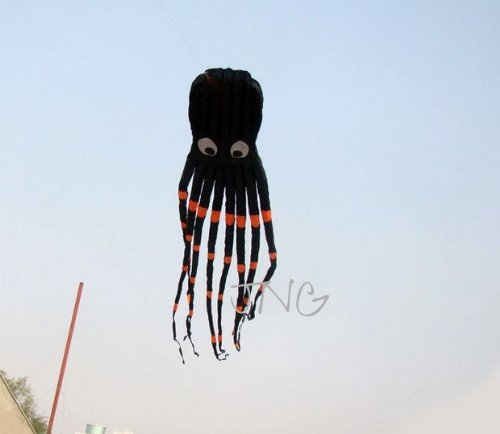 7M Large Octopus Paul Parafoil Kite Black with Handle & String, Beach Park Outdoor Fun by L.W. (Image #1)