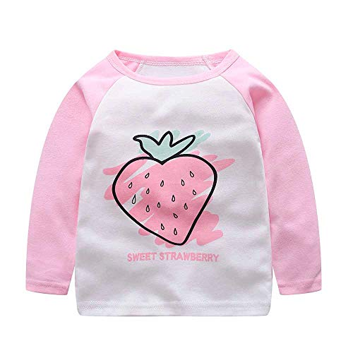 Challyhope Baby Toddler Cute Cartoon Animals Fruits Letter Tops Raglan Sleeve Splice T-Shirt Blouse Outfits 18M-5T (5T, White - Strawberry)