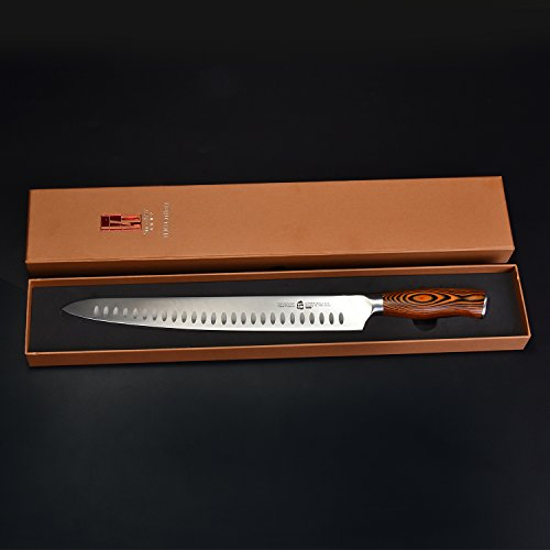 TUO Cutlery 12 inch Slicing Carving Knife - HC German Stainless steel - Meat Knife with Ergonomic Pakkawood Handle - Fiery Series by TUO Cutlery (Image #2)