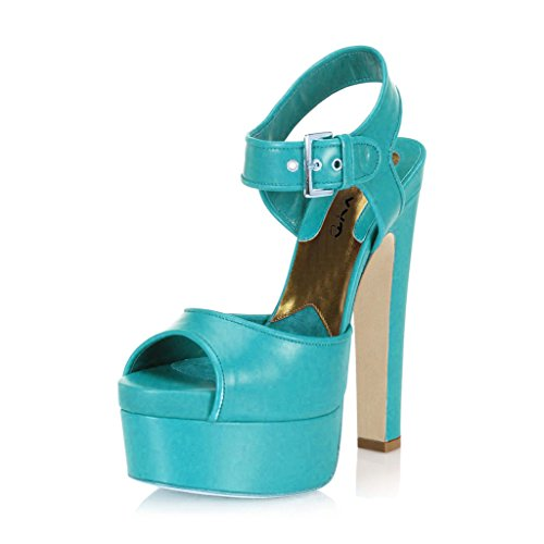 XYD Club Grgeous Platform Shoes Peep Toe Wide Ankle Strap Chunky High Heels Sandals for Women Size 4 Sea Green