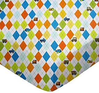 product image for SheetWorld 100% Cotton Percale Fitted Crib Toddler Sheet 28 x 52, Argyle White Transport, Made in USA