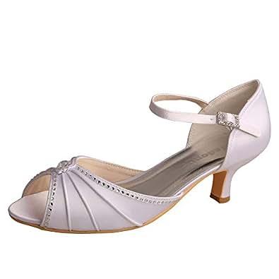 Wedopus MW033B Women's Peep Toe Mary Jane Low Heel Pleated Rhinestones Satin Wedding Prom Shoes White Size: 4