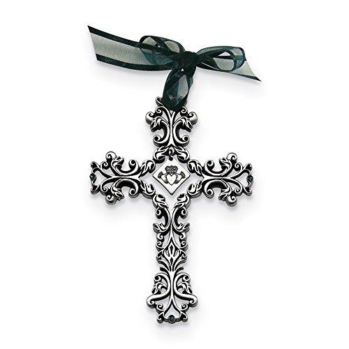 (Silver-tone Filigree Celtic w/Green Crystals Cross)