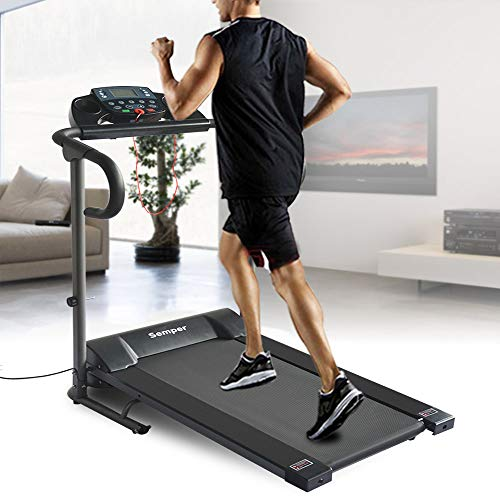 Okapa Folding Electric Treadmill Fitness Walking Running Exercise Machine Incline Trainer Equipment Easy Assembly W/Cooling Towel(Black)