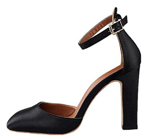 HooH Women's Satin Chunky Ankle Strap High Heel Wedding Sandals Black w5tf8a