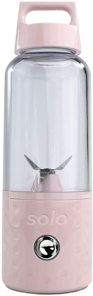 Solo Blend Portable Smoothie Blender, Pink, 13.5 fl. oz, USB Rechargeable, Cordless, Travel Blender, Detachable Cup, BPA-Free Plastics, Stainless Steel Blade and Motor, Fits in Cup Holder