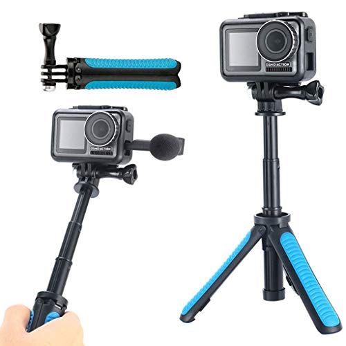 (Sodoop Travel Tripod Selfie Stick for DJI OSMO Action Camera,Monopod Stabilizer,Portable Folding Extendable Handheld Tripod,Selfie Stick Monopod Set (Blue))