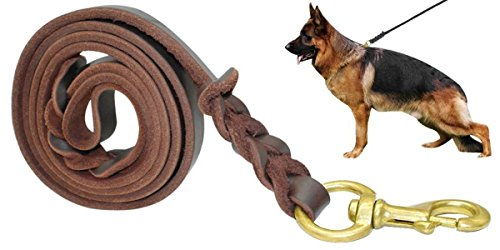 "Fairwin Braided Leather Dog Training Leash 6 Foot - Best Military Grade Heavy Duty Dog Leash for Large Medium Small Dogs (5/8"" Width, Brown) 004"