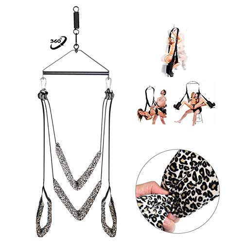 Luxury Heavy Duty Swivel Swing Set 360 Degree Spinning Sling Swings with Steel Triangle Frame, Spring and Hooks - Ceiling Holds Weight Up to 800 lbs - Height Adjustable (Leopard) by ZL-TECH