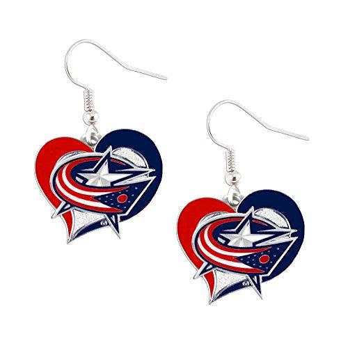 NHL Columbus Blue Jackets Swirl Heart Earrings ()