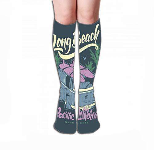 surf print lettering minivan handdrawn Best Stockings for Running, Medical,19.7