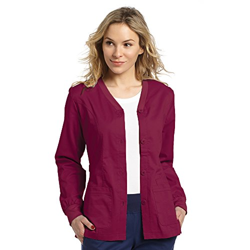 Allure by White Cross Women's Button Front Cardigan Warm Up Scrub Jacket Medium Wine