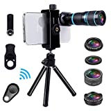 Cell Phone Camera Lens Kit for iPhone and Android, Cellphone Lenses Kit with Tripod and Shutter Remote, 5 in 1 Zoom Universal Telescope Lens+ Wide Angle Lens+ Micro Lens+ Fisheye Lens+ CPL Lens