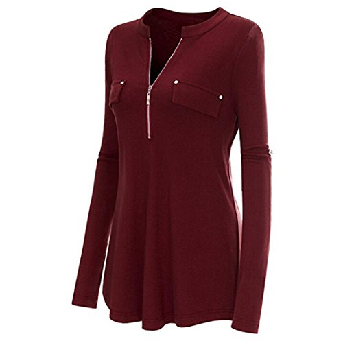 Long Velour Lounger - Realdo Womens Zipper Front Blouse, Casual Fashion V Neck Shirt Tops Roll-up Long and Three Quarter Sleeve(Wine,Small)