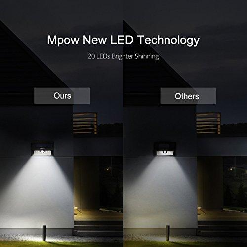 Outdoor Wall Light Bright: Mpow Solar Lights Outdoor, 20 LED Bright Motion Sensor