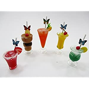 Dollhouse Miniatures Food Beverage Drinks Mixed Cocktail 5 Real Glass 13851