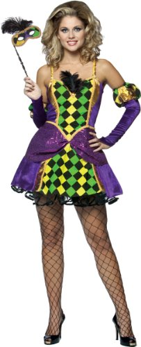 Simple At Home Halloween Costumes For Adults (Rasta Imposta Mardi Gras Queen, Multi, Adult)