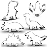 New Dinosaur Cookie Cutter Set-6 Piece-3 Inches-Dinosaur Footprint, Tyrannosaurus, Brontosaurs, Rex, Spinosaurus, Triceratops Dinosaurs Mold for Kids Dinosaur Birthday Party