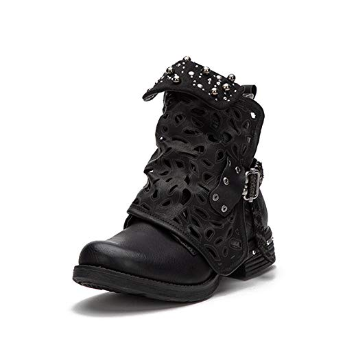 LALA IKAI Black Studded Ankle Boots for Women Cowgirl Combat Boots Leather Low Heel Biker Shoes