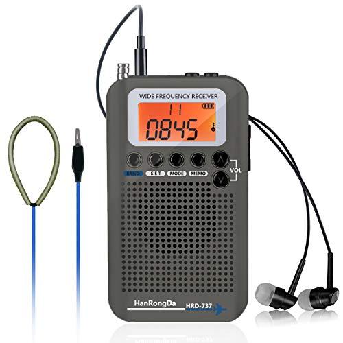 [해외]Offeree 라디오 DSP 고감도 수신 FMAMSWCBAIRVHF 미니 휴대용 기준 주파수 LCD 디스플레이 충전식 항공 스테레오 라디오 (그레이) / offeree radio DSP high sensitivity reception FMAMSWCBAIRVHF miniportable full frequency band LCD display re...