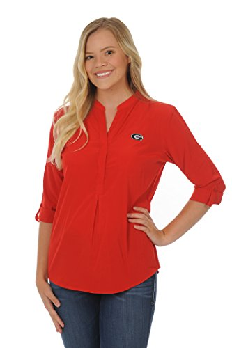 Ncaa Georgia Bulldogs University (UG Apparel NCAA Georgia Bulldogs Adult Women Button Down Tunic, Large, Red)
