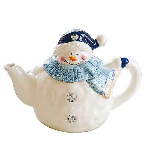 YSMYWM Cute Ceramic Christmas Snowman Teapot Tea Kettle Water Jug Home Decor Christmas Gift
