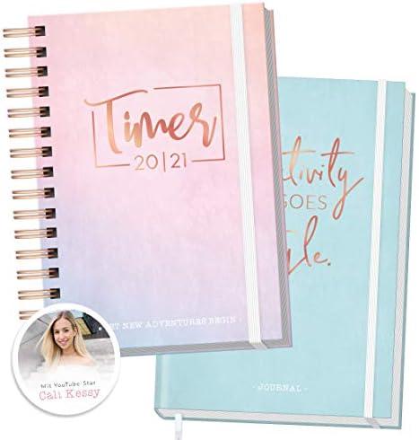 Bundle: Häfft-Timer 2020/2021 A5 + Premium Bullet Journal A5 [Cali Kessy Edition] Schülerplaner/Schülerkalender und Notizbuch gepunktet | nachhaltig & klimaneutral