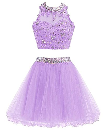 (TANGFUTI Two Pieces Beaded Short Prom Homecoming Dress Cocktail Party Gownss 106LV-US6 Lavender)