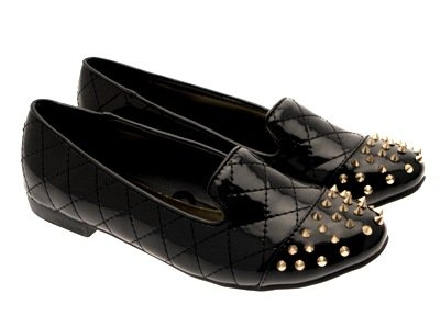 WOMENS SLIPPERS LADIES NEW GIRLS SPIKE SHOES Black BALLET STUDDED PUMPS LD 3 MUKES Outlet LOAFERS 8 FLATS Patent STUDS Y5RwIq6E6x