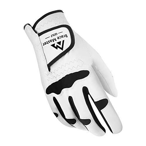 Brace Master Golf Gloves, Stabilized Grip Cabretta Leather Golf Gloves for Men and Women, Durable and Soft Suitable for All Weather, Left or Right Hand Single Golf Gloves (Right Hand - Lycra, M)