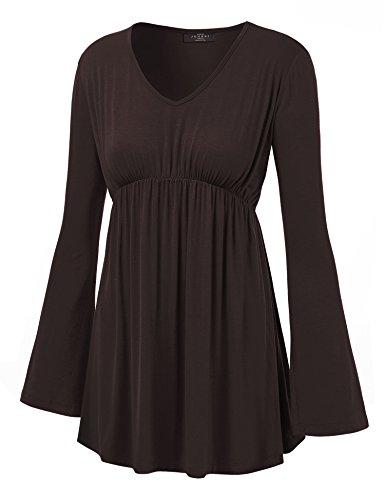 Made Outfit (MBJ WT1159 Womens V Neck Long Sleeve Empire Waist Tunic Top XXL BROWN)