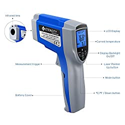 Etekcity 1022 Digital Laser Infrared Thermometer Temperature Gun Non-contact -58?~1022? (-50? ~ 550?) with Adjustable Emissivity & Max Measure for Meat Refrigerator Pool Oven