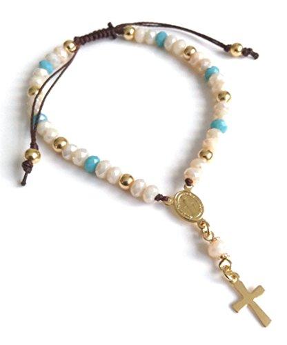 (Rosary Bracelet for Women Catholic Adjustable Crystal Beads String Bracelets - Pulsera Rosario)