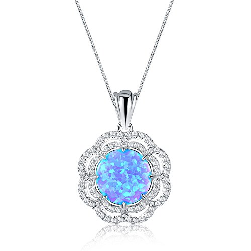 Mozume Double Halo 11mm Blue Black Opal Pendant Necklace 925 Sterling Silver Box Chain 18 ()